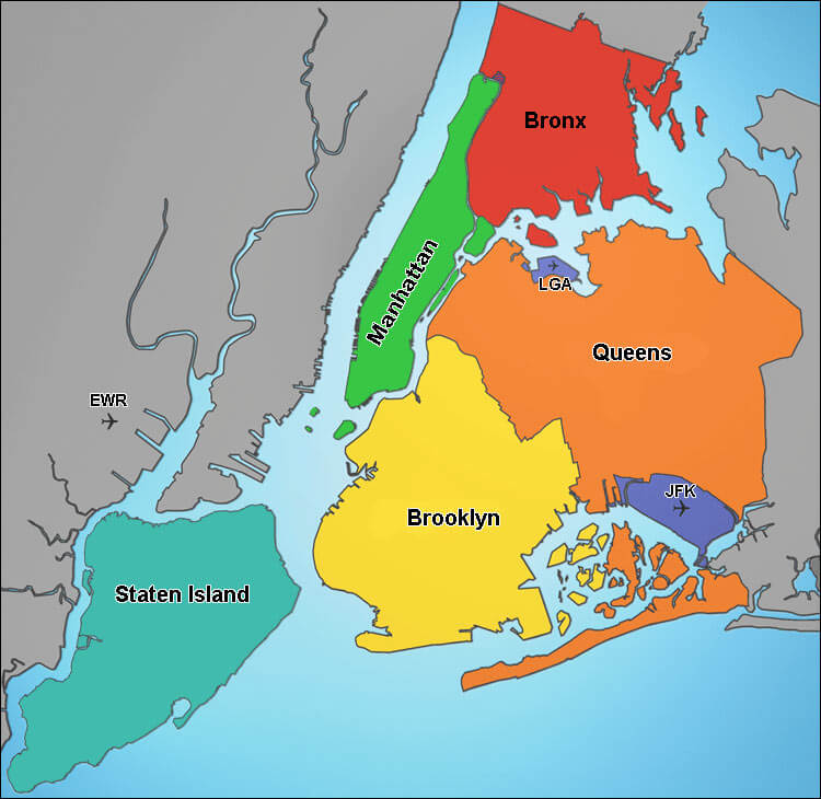 Map of NYC 5 boroughs