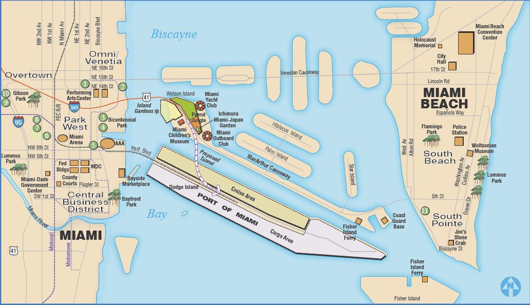 Mapa puerto de cruceros de Miami